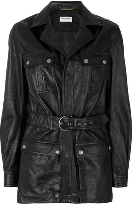 Saint Laurent belted leather coat