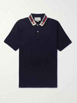 Gucci Appliqued Webbing-Trimmed Cotton-Pique Polo Shirt - Men - Blue