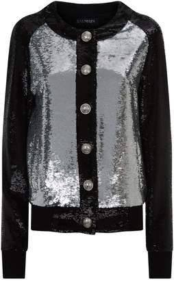 Balmain Bicolour Sequin Bomber Jacket