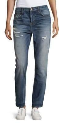 Current/Elliott Distressed Cotton Straight Jeans