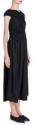 Jil Sander Women's Silk Ruched Asymmetric Midi Dress
