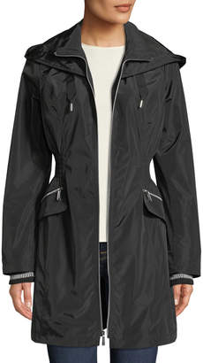 Laundry by Shelli Segal Ribbed-Cuff Zip-Front Wind-Resistant Jacket