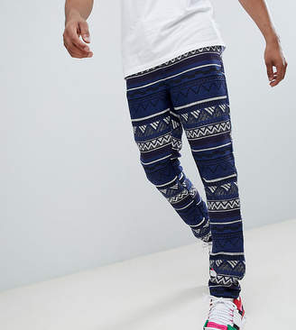Asos DESIGN Tall Festival Tapered Pants In Blue Geo-Tribal Jacquard With Elasticated Waist