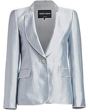 Giorgio Armani Women's Metallic Chevron Jacquard One-Button Blazer