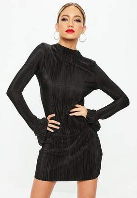 Missguided Black High Neck Frill Long Sleeve Plisse Dress