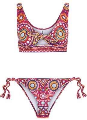 Moschino Knotted Cutout Printed Bikini