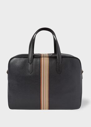 Paul Smith Men's Black Leather Signature Stripe Weekend Bag