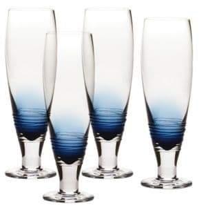Mikasa Swirl Cobalt Pilsner Glass Set of 4