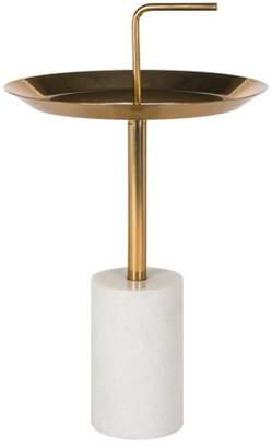 Safavieh Apollo Round Brass Top Side Table with Handle, Brass/Marble