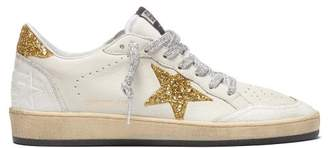 Golden Goose Ball Star Low Top Cracked Leather Trainers - Womens - White Gold