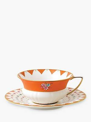 Wedgwood Wonderlust Peony Diamond Cup and Saucer Set, Multi, 180ml