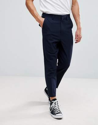 Asos DESIGN Drop Crotch Tapered Smart Pants In Navy With Back Pocket Detail