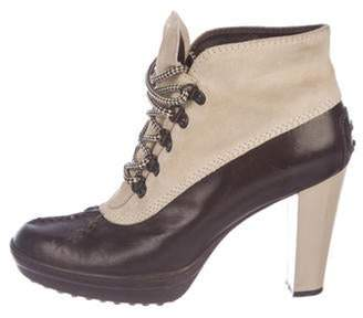 Tod's Leather Lace-Up Booties Brown Leather Lace-Up Booties