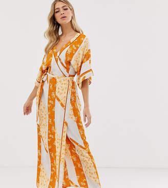 90dfea62fb Miss Selfridge wrap kimono maxi dress in mixed print