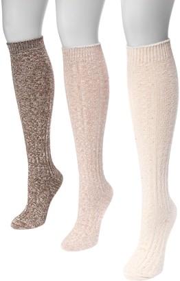 Muk Luks Women's 3 Pair Pack Cable Knee High Socks