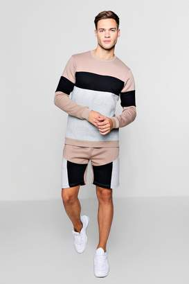 boohoo Colour Block Sweater Short Tracksuit
