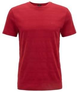 BOSS Hugo Slim-fit T-shirt in cotton logo-tape sleeves L Dark Red