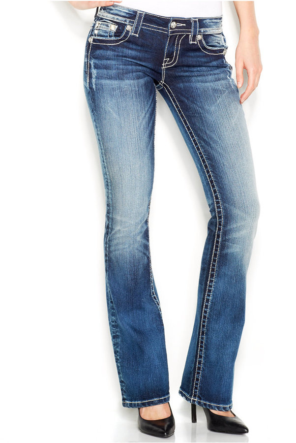 Miss Me Studded Rhinestone Petite Bootcut Jeans