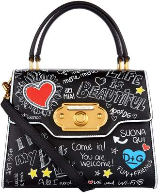 Dolce & Gabbana Leather Welcome Printed Top Handle Bag