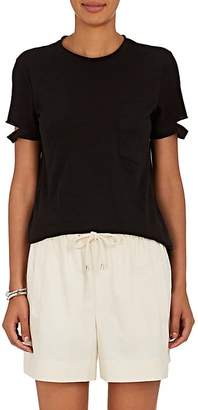 Helmut Lang Women's Slashed-Sleeve Cotton Jersey T-Shirt