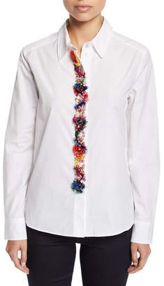 Escada Fringe & Floral-Embroidered Placket Button-Down Cotton Shirt