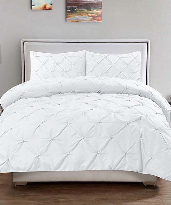 White Pin Tuck Duvet Cover Set