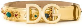 Dolce & Gabbana bejewelled embroidered belt