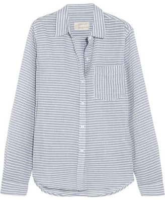 Current/Elliott - The Boyfriend Striped Cotton-chambray Shirt - Light blue $200 thestylecure.com