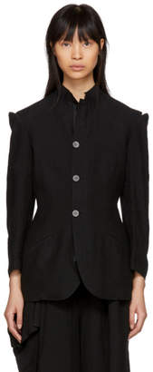 Yohji Yamamoto Black Linen Cut-Out Shoulders Jacket