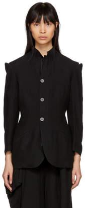 Yohji Yamamoto Black Linen Cut-Out Shoulders Jacket