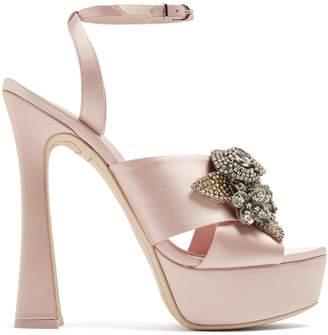 Sophia Webster Lilico floral-embellished satin platform sandals
