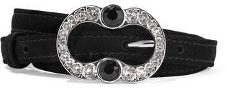 Prada Crystal-embellished Suede Belt - Black