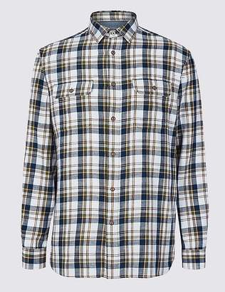 Marks and Spencer Pure Cotton Checked Shirt with Pockets