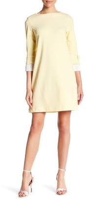 Sharagano Pleated 3/4 Sleeve Dress