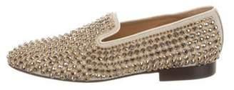 Louis Leeman Jewel-Embellished Smoking Slippers beige Jewel-Embellished Smoking Slippers