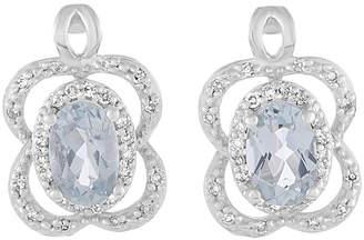 Diamond Select Cuts 14K 0.15 Ct. Tw. Diamond & Aquamarine Earrings