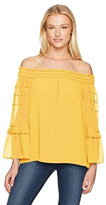 Max Studio Women's Solid Off The Shoulder Bell Sleeve Top