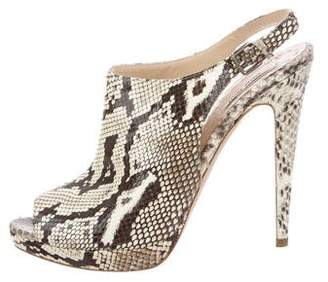 Miu Miu Snakeskin Slingback Sandals