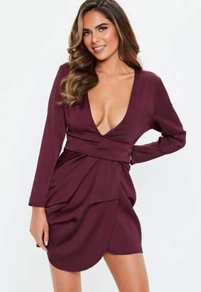 Missguided Petite Burgundy Satin Drape Dress