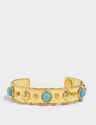 Stone Massaii Cuff Bracelet in Gold-Plated Brass with Turquoise