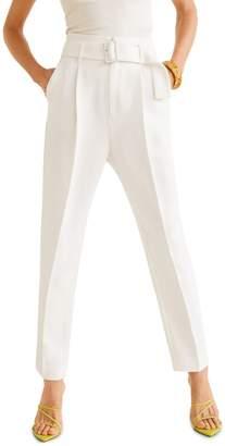 MANGO Straight-Leg Belted Pants