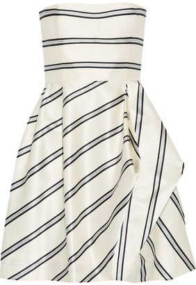 Halston Heritage - Strapless Striped Satin-twill Mini Dress - White $395 thestylecure.com