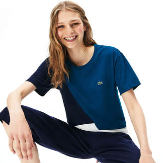 Lacoste Women's Crewneck Color-Block Thermoregulating T-shirt