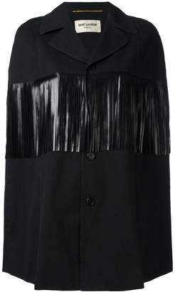 Saint Laurent leather fringe trim cape