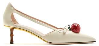 Gucci Unia Crystal Cherry Pumps - Womens - White