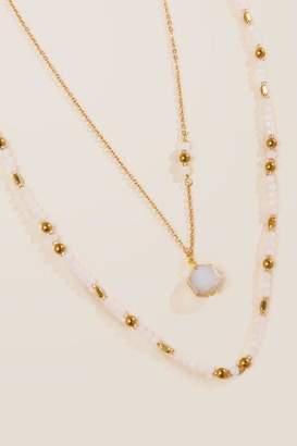 francesca's Kia Beaded Layer Necklace - White