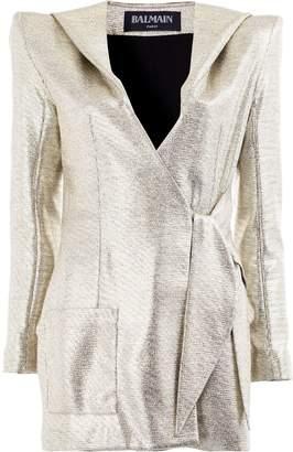 Balmain structured wrap front blazer