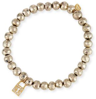 Sydney Evan 6mm Beaded Pyrite Bracelet with Diamond Lock Charm