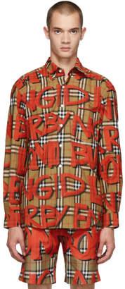 Burberry Beige All Over Logo Check Jameson Shirt