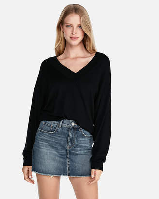 Express Petite Oversized Deep V-Neck Tunic Sweater